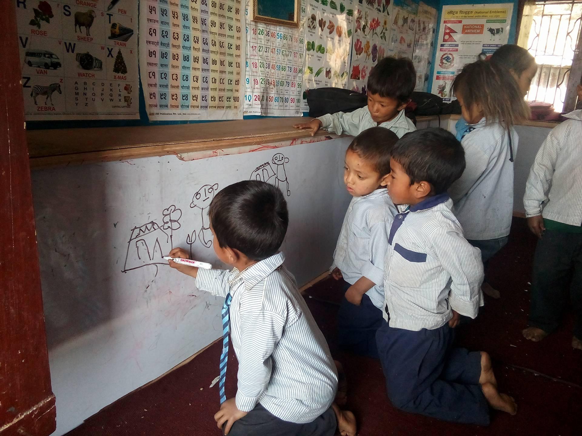 Pre-K children at Deurali Primary School, Aug. 2017