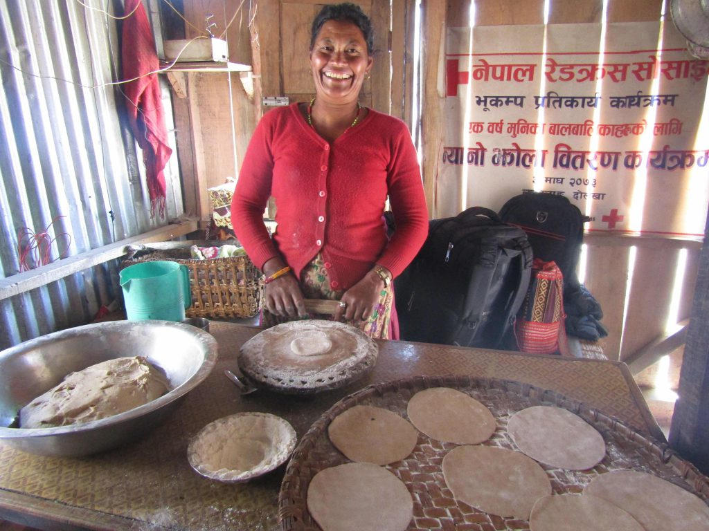 Bishnu Maya Shrestha in her shop, Jan. 2018
